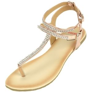 Alpine Swiss Rose Gold Rhinestone Trim Flat Sandal